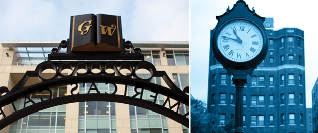 Photo collage of Trustee's gate & the street clock